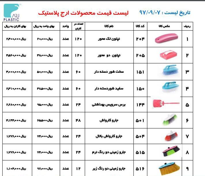 خرید محصولات پلاستیکی ارج